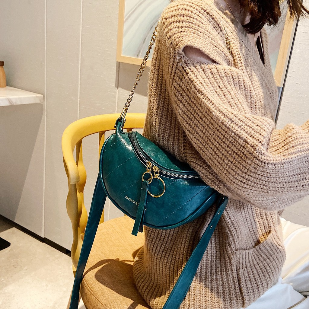 Fanny Pack For Women Unisex Fashion Double Zipper Bags Leather Solid Shoulder Bags Crossbody Bag Chest Bags Saszetka Na Biodra
