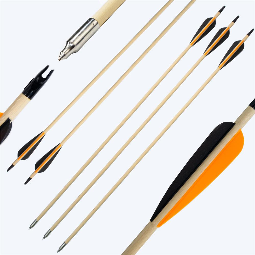 """12-pack Archery 32/"""" 9mm Spine 400 Wood Arrows for Bow Target Practice"""