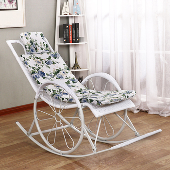 Summer Rocking Chair Recliner Rocking for Balcony Garden Leisure Relax Wicker Chair Lazy Chair Lounge Chair patio wicker chaise lounge white poolside balcony lounger transport by sea
