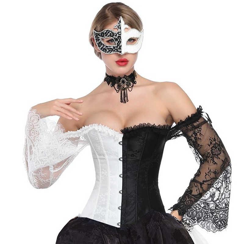 Korset Steampunk Korset Wanita Sexy Pesta Klub Burlesque Gothic Korset Pakaian Lengan Panjang Corset Renda Bustiers Klub Pernikahan