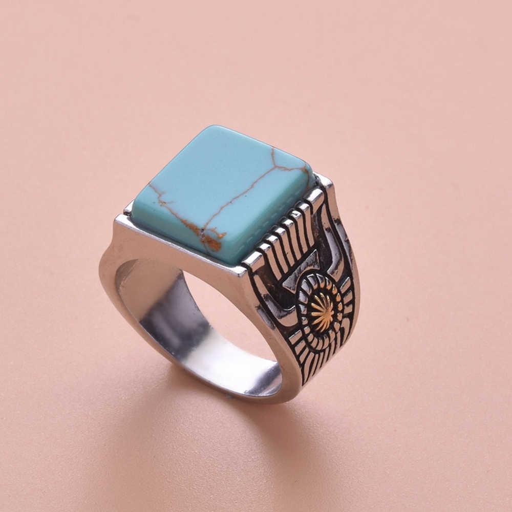 כיכר כחול אבן טבעת עבור נשים עתיק כסף צבע חותם טבעת נקבה חמניות טרנדי תכשיטי אתני בציר Boho 222