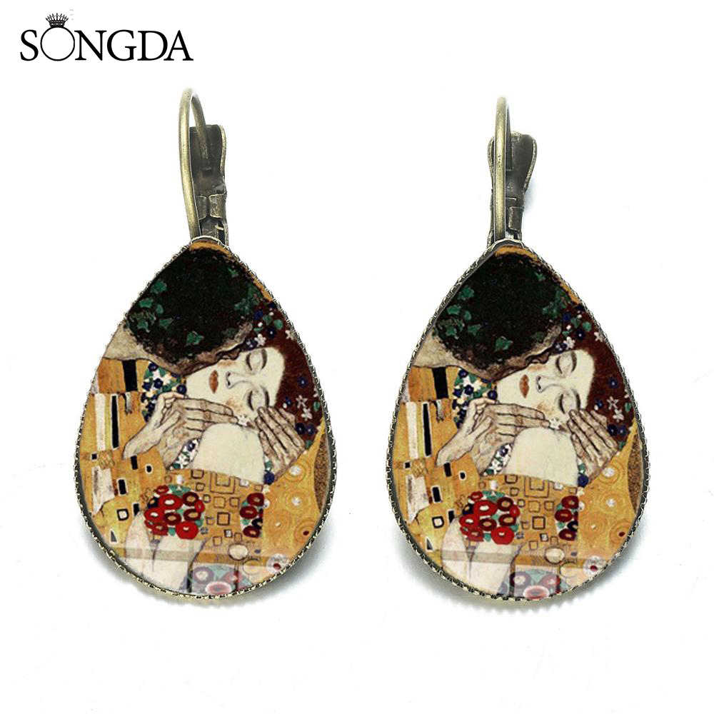 Klasik Gustav Klimt Ciuman Teardrop Earrings Emas Air Mata Lukisan Kaca Dome Bahasa Perancis Hook Air Drop Anting-Anting Menjuntai