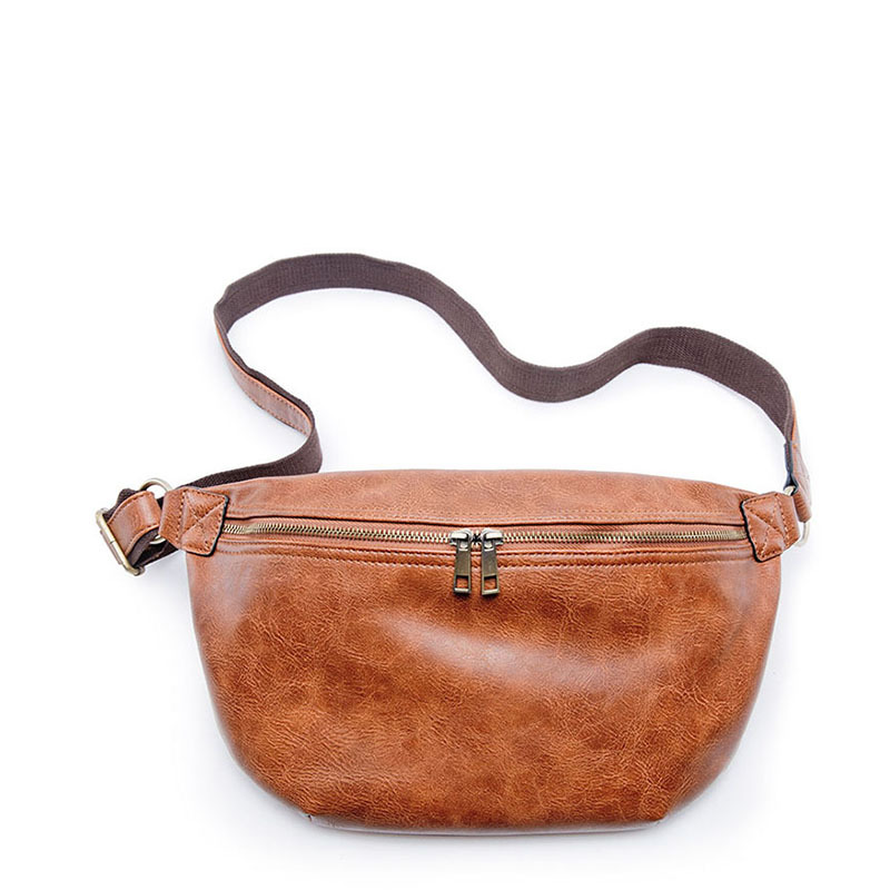 New Style PU Leather Korean-style Men's Running Bag Casual And Simple Versatile Retro Shoulder Fashion Stylish Chest Pack