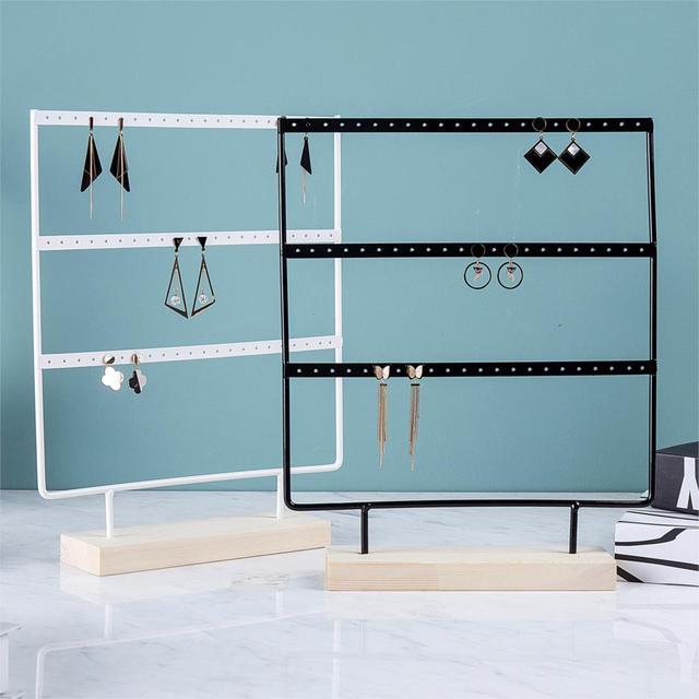 Wholesale Wooden Base Metal Ear Studs Pendant Jewelry Holder Display Stand Organizer Earrings Presenting Rack 24/44/66 Holes 5