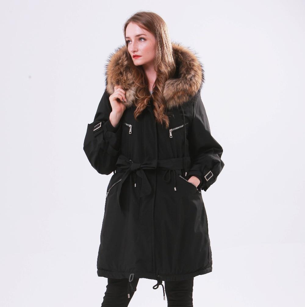 Large Natural Raccoon Fur Winter Jacket Women Hooded 19 Long Parkas For Female Thick Slim Down Winter Coat Women Waterproof 5