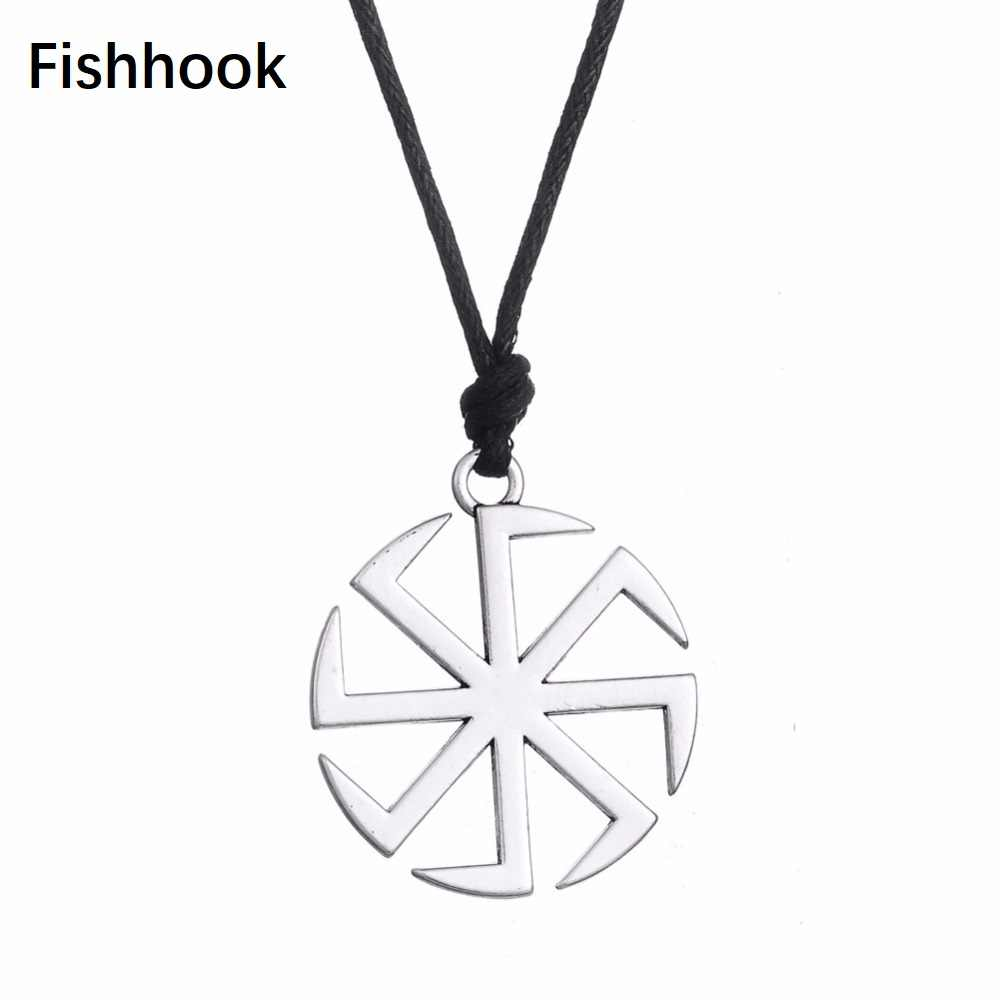 Slavic Kolovrat Amulet Pagan Sun Talisman Wax Cord Religious Pendants Necklace For Date Birthday Woman Man Girl Gift