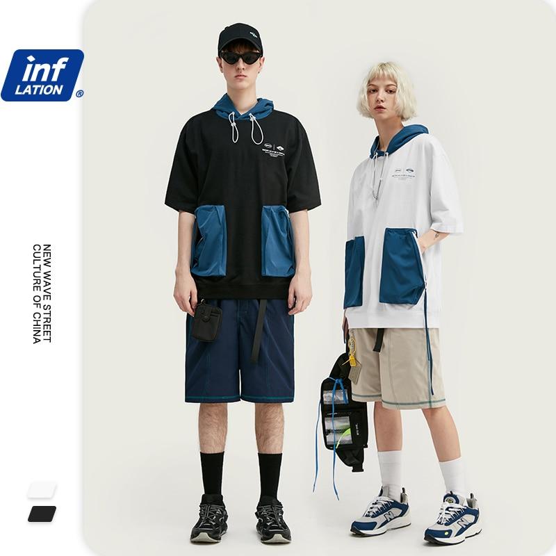 INFLATION Oversized Men T Shirt Hip Hop Men Hooded Tee Shirt Homme Men T Shirt With Pocket 250G Streetwear Men T Shirt 1123S20