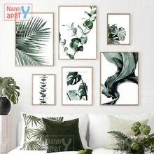 Decoração de casa moderna grande folha verde monstera eucalipto arte da parede pintura em tela cartazes e impressões para sala estar quarto