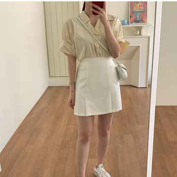 New Girls Summer Blouse Women Suit Shirt Short Sleeves Tops High Waist Long Solid A Line Skirts Two Piece Suits Sell Separately 1