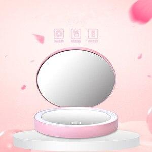 3 cor dobrável bolso led iluminado espelho de maquiagem alta qualidade redonda dupla face 2x espelho de aumento