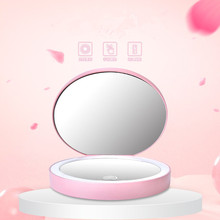 Rechargeable Led Touch Screen Makeup Mirror Small Magnifying makeup mirror Double Sided foldable led