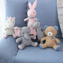 Nordic Style Hot Knitted Unicorns Elephant Bunny Dinosaur Stuffed Toy Safety Bite Baby Toys Infant Sleeping Appease Doll Cute