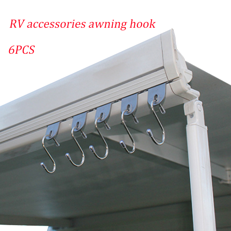 6pcs Camper Clothes Hook Awning Clothes Shoes Hat Hooks RV Accessories Awning Outdoor Hook For Outdoor Camping Survival