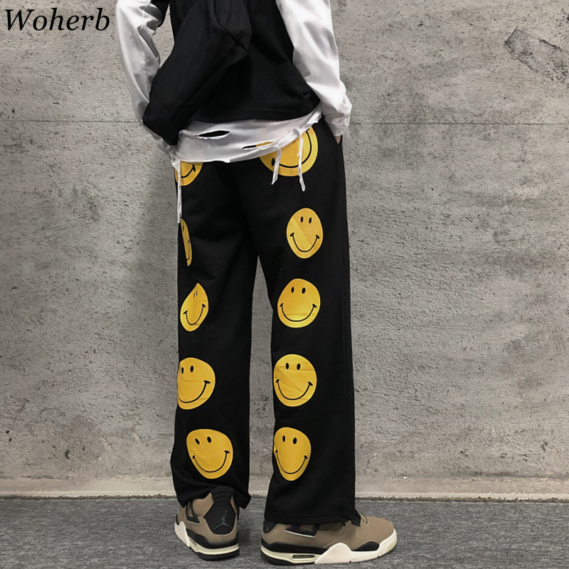 Woherb Women Clothing  Spring Korean Chic Harajuku Pantalon Print Smiley Wide Leg Pants Loose Straight Casual Female Trousers