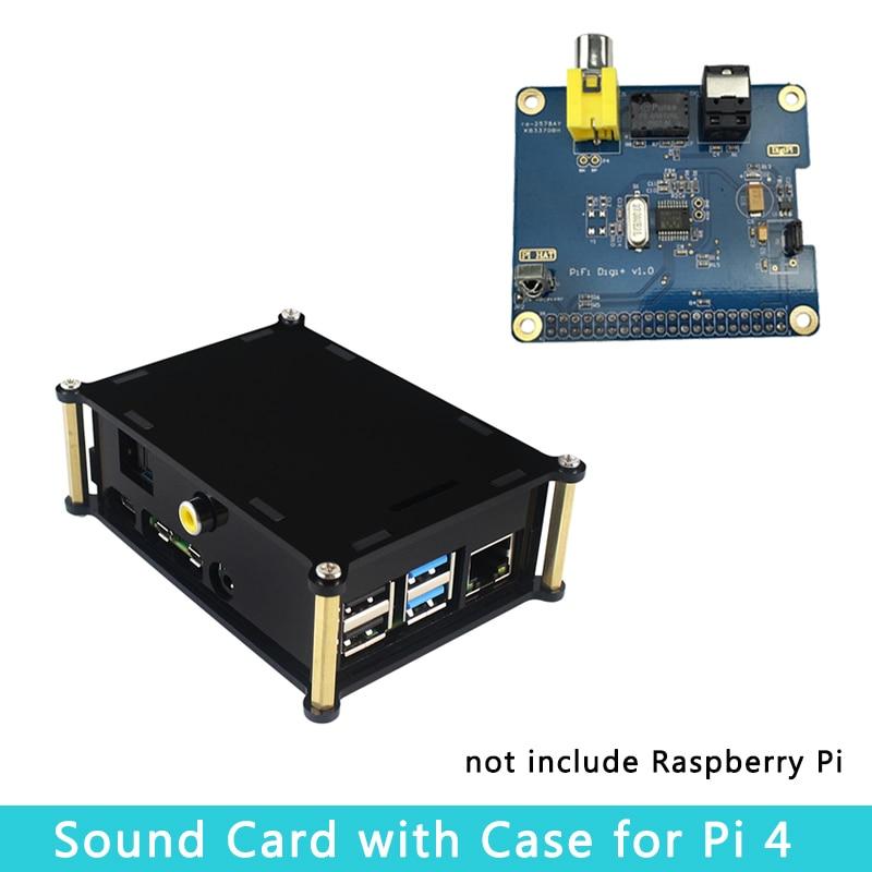 Raspberry Pi 4 Model B Sound Card PiFi Digi+ V1.0 Digital Audio DigiPI Digital Audio Board | Acrylic Case Shell For Raspberry Pi