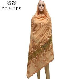 Image 5 - 新アフリカイスラム教徒刺繍女性綿スカーフ経済的な、綿ビッグサイズ女性スカーフショール EC200