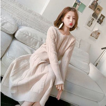 2 piece outfits for women fashion elegant sweater with half-length skirt two-piece loose 2018 autumn new womens suit