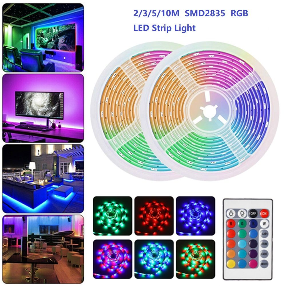 DC12V Waterproof 2/3/5/10M RGB LED Strip Light +24Keys Remote Control SMD2835 Flexible Tape Led Strip Home Outdoor KTV Hotel