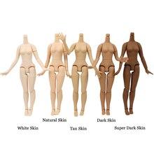 Ortak vücut 21cm 30cm 1/6 blythe bebek büyük meme farklı cilt renk beyaz tan koyu cilt uygun DIY oyuncak hediye