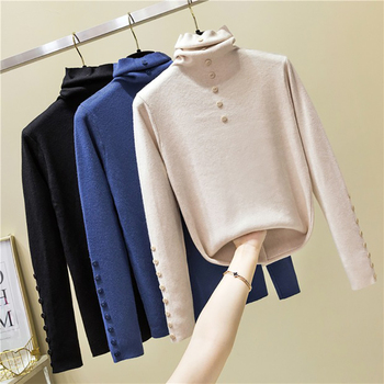 shintimes Knitted Cotton Turtleneck Sweater Women Pullover Autumn Top 2019 High Elasticity Fall Long Sleeve Button Women Sweater bow knitted pullovers autumn winter women sweater jumper pullover sleeve long 2020 high elasticity fall sweater women pullover