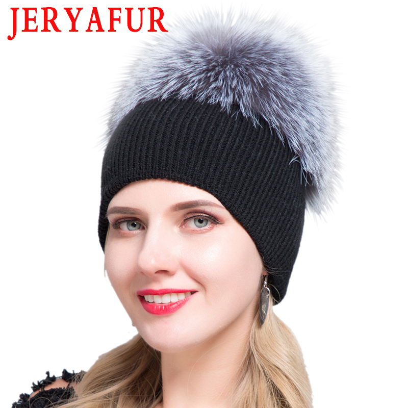 JERYAFUR Russian Autumn Winter Faba Bean Cap, Men's And Women's Wool Knitted Headwear, Leisure Hat And Raccoon Fur Fox Ski Hat