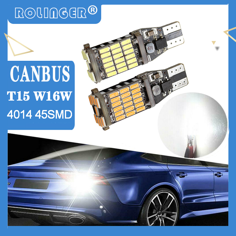 LED T15 T16 W16W Canbus Car Light Bulbs 45SMD LED Chips Wedge Bulb 6500K White Car Tail Brake Light Backup Reverse Lamp Car Bulb