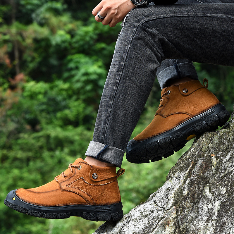 2019 Men Shoes Leather Winter Shoes Men Warm Comfortable Mans Footwear Fur Waterproof Ankle Boots Men Lace up Shoes Big Size - 5