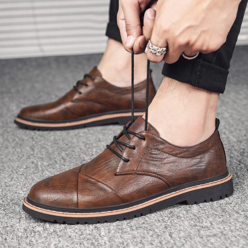 Zapatos Oxfords de marca para hombre, zapatos formales de negocios de cuero genuino de estilo británico, zapatos de vestir para hombre, mocasines de calidad superior