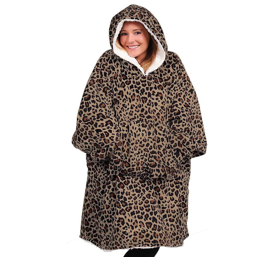 Xsmas Leopard Blanket Sweatshirt Winter Thick Comfy TV Solid Warm Hooded Adults Children Fleece Blankets For Bed Travel