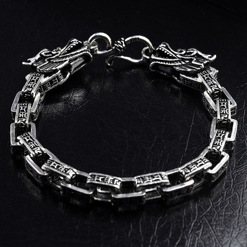 Six Word Real S925 Sterling Silver Thailand lection Dargon Bracelets Women Men Fine Jewelry Solid Thai Silver Bangle Bracelet