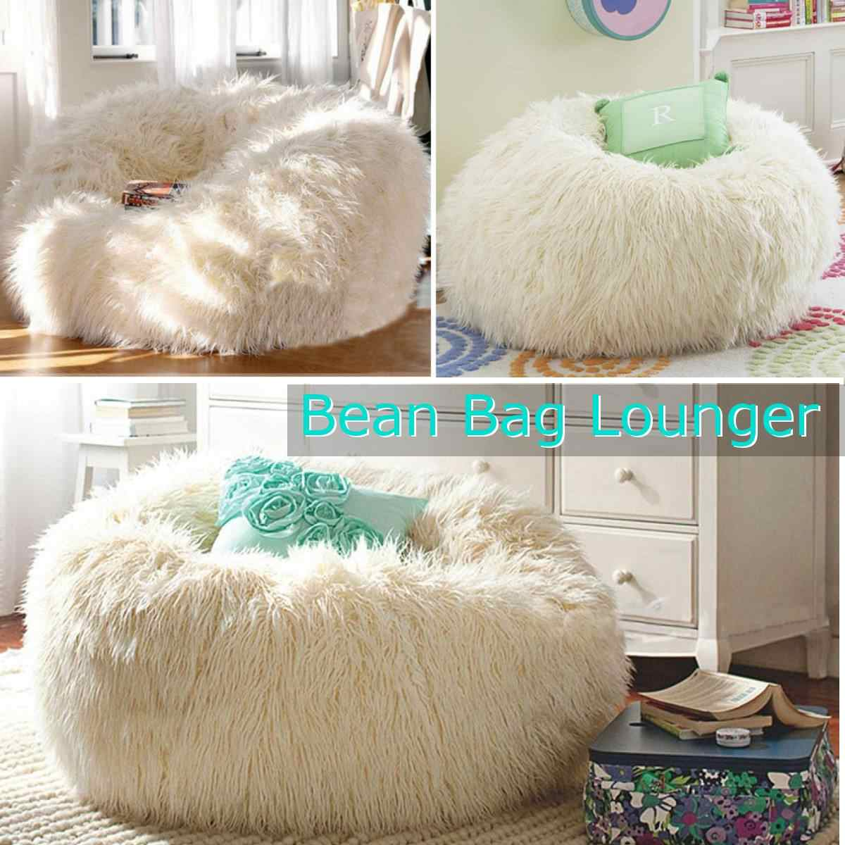 Soft Lazy Bean Bag Sofa Plush Cover Lounger Chairs Seat Living Room Home Furniture Without Filling Beanbag Beds Lazy Seat Bean Bag Sofas Aliexpress