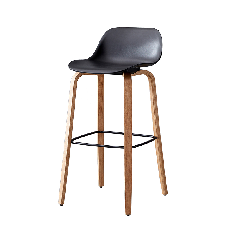 Modern Simple Light Luxury Bar Chair Solid Wood High Foot Bar Stool Northern Europe Bar Chair Creative Bar Chair Back Bar Chair