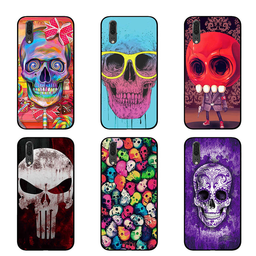 Colorful red tattoo skull Black Phone Case for Huawei P30 P20 Mate 10 20 Pro Lite Nova 3 4 3i Cover