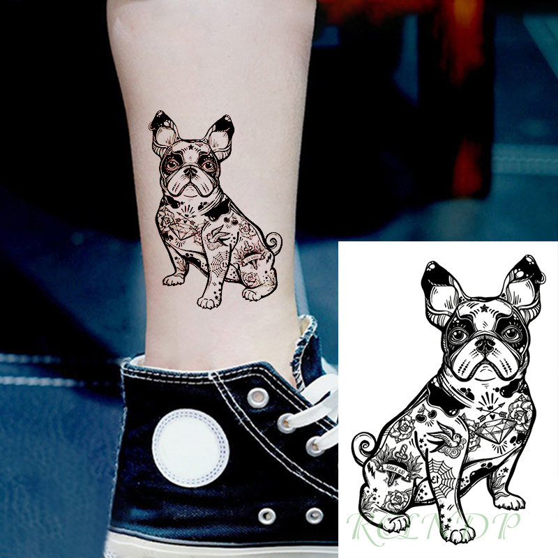 Waterproof Temporary Tattoo Sticker Bulldog Bird Sword Arrow Diamond Flower Tatto Flash Tatoo Fake Tattoos For Men Women Kid