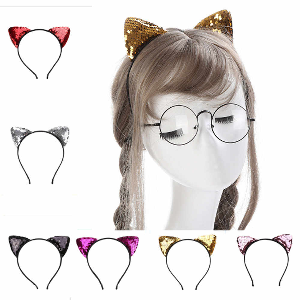 Sequin Cat Ear Headbands solid cute hair band Acrylic women hair accessories Holiday Hair Scrunchie free ship резинки для волос