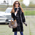 FURSARCAR 2019 New Black Winter Real Mink Fur Coats Mandarin Collar Women Genuine Mink Fur Coat Elegant Mink Fur Female Jacket