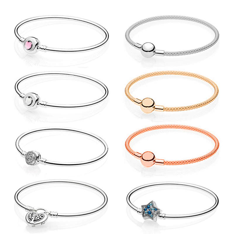 PDB  SL  17  Original 100% 925 Sterling Silver Bracelet Rose Gold Silk Knitting True Love Tree Co., Ltd. 1:1 Silver Bracelet