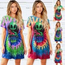 Yg marca feminina 2021 verão nova moda alienígena impressão em torno do pescoço casual camiseta de comprimento médio das mulheres manga curta topo