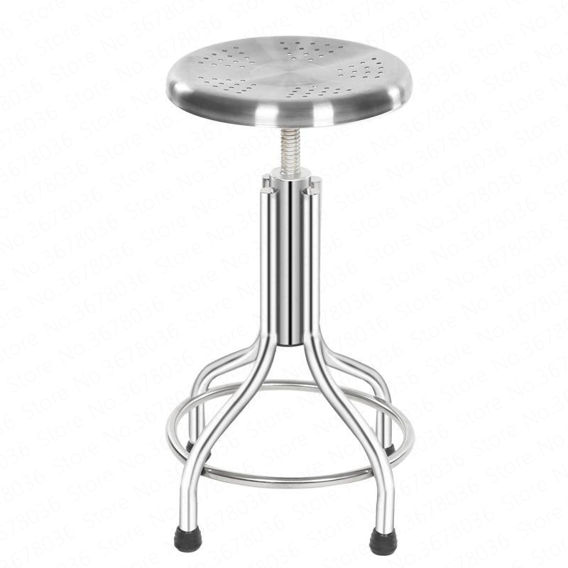 New European Stainless Steel Lifting Bar Chair Home Retro Back Lift High Stool  Bar Chairs Stools For Laboratory Workshop