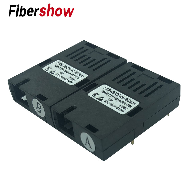 155M Single Fiber SC Connector Bidi 20km 1*9 Module Optical Transceiver For 100M Media Converter HTB-3100