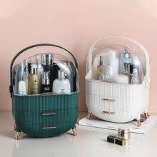 Moda grande capacidade cosméticos caixa de armazenamento à prova ddustágua dustproof banheiro desktop beleza maquiagem organizador cuidados com a pele gaveta armazenamento