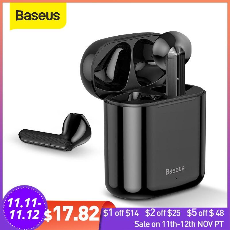 Baseus TWS Bluetooth Earphone W09 Intelligent Fingerprint Touch Control Wireless with Stereo Bass Sound Smart Connect HD Headset