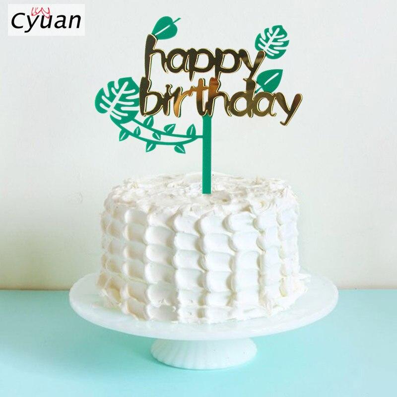 Sensational Palm Leaf Happy Birthday Cake Toppers Birthday Party Cake Decor Birthday Cards Printable Trancafe Filternl