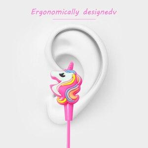 Image 3 - Komik Unicorn karikatür kulaklıklar kulaklık oyun müzik Stereo kulakiçi açık spor koşu kulaklıklar çocuklar kız hediyeler
