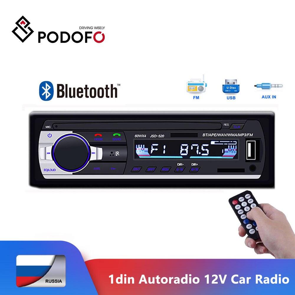 Podofo 1din autoradio 12V Car Radio Bluetooth car stereo Player AUX IN MP3 FM/USB In Dash Car Audio Remote Control Phone Charger|Car Radios| |  - title=