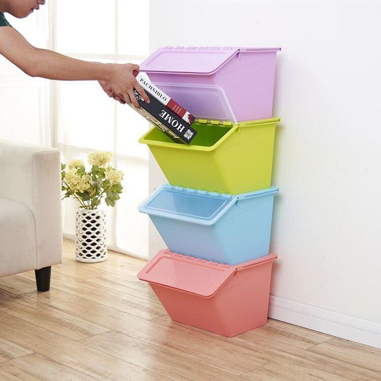 Fabricants vente directe Oblique bouche boîte de rangement coloré finition boîte jouet boîte de rangement en plastique Profession en gros