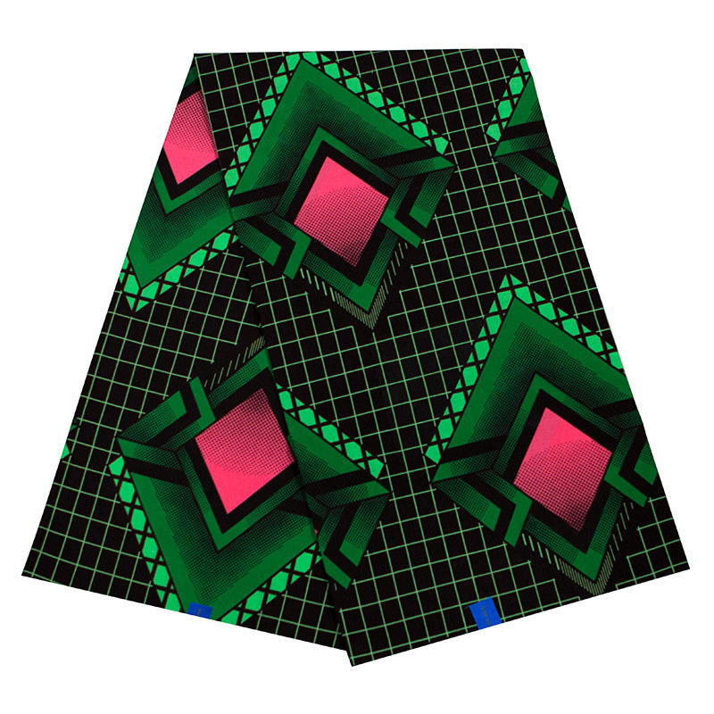 100% Cotton New Fashion African Red & Dark Green Print Fabric High Quality Veritable Ankara Wax Java