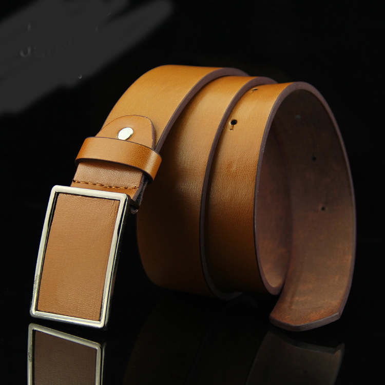 NEW Leather Belt Belt Men's Buckle Belt Casual Retro Smooth Buckle Antique  Harajuku Pants  Harajuku  Punk  Gifts For Men