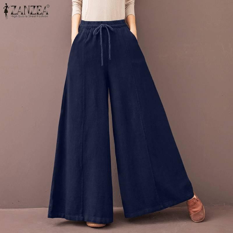 ZANZEA Women Spring Trousers Vintage High Waist Solid Casual Wide Leg Pants Fashion Loose Flare Palazzo Oversized Long Pantalon