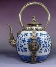 Théière chinoise ancienne Tibet, dragon en argent, en porcelaine, bleu et blanc, vente en gros, usine